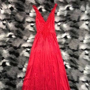 Vintage Red Satin Lace Plunge Sexy Nightgown Dress